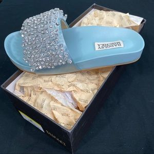 BLING NWT Badgley Mischka Crystal Slides Sandals 6